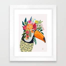 Toucan with flowers on head Framed Art Print