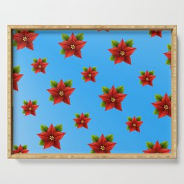 Red Flowers Pattern 2 Serving Tray