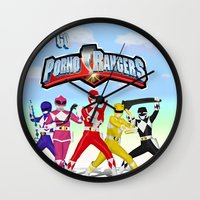 power rangers Wall Clocks featuring porno rangers by Anthrackie