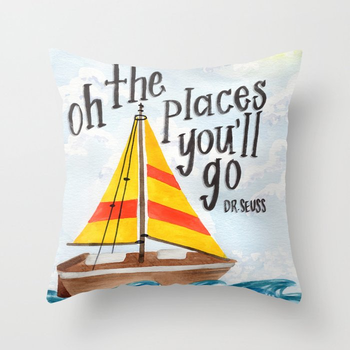 Oh the Places You'll Go - Dr. Seuss Throw Pillow