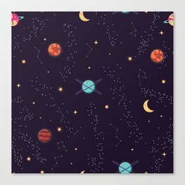Universe with planets and stars seamless pattern, cosmos starry night sky 002 Canvas Print
