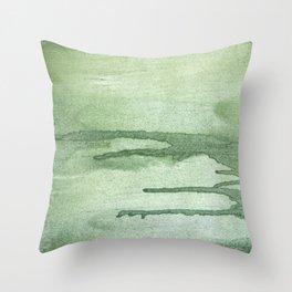Dark sea green colorful wash drawing texture Throw Pillow