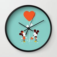 minnie mouse Wall Clocks featuring Minnie and Mickey Mouse by Pink Berry Patterns