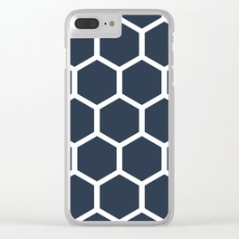 Dark blueHoneycomb pattern Clear iPhone Case