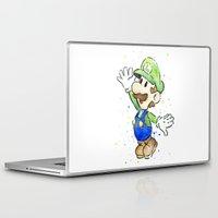 luigi Laptop & iPad Skins featuring Luigi Watercolor Art by Olechka