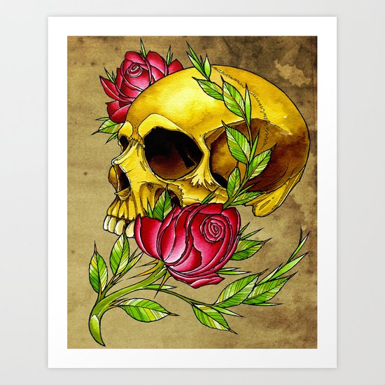 trad skull w rose Art Print