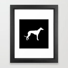 Greyhound square black and white minimal dog silhouette dog breed pattern Framed Art Print