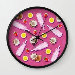Summer fruit pink Wall Clock