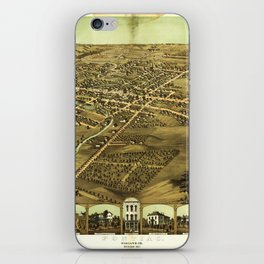 Aerial View of Pontiac, Oakland County, Michigan (1867) iPhone Skin