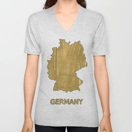 Germany map outline Aztec Gold watercolor Unisex V-Neck