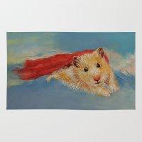 superhero Area & Throw Rugs featuring Hamster Superhero by Michael Creese