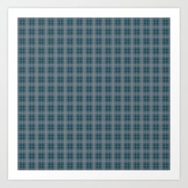 Christmas Winter Night Blue Tartan Check Plaid Art Print
