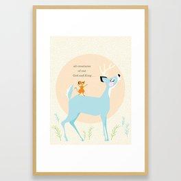 All Creatures (blue) Framed Art Print