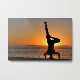 Yoga on the Beach Metal Print