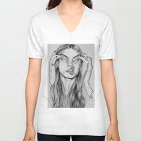 cara V-neck T-shirts featuring Cara by David Pérez