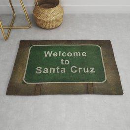 Welcome to Santa Cruz, roadside sign illustration Rug