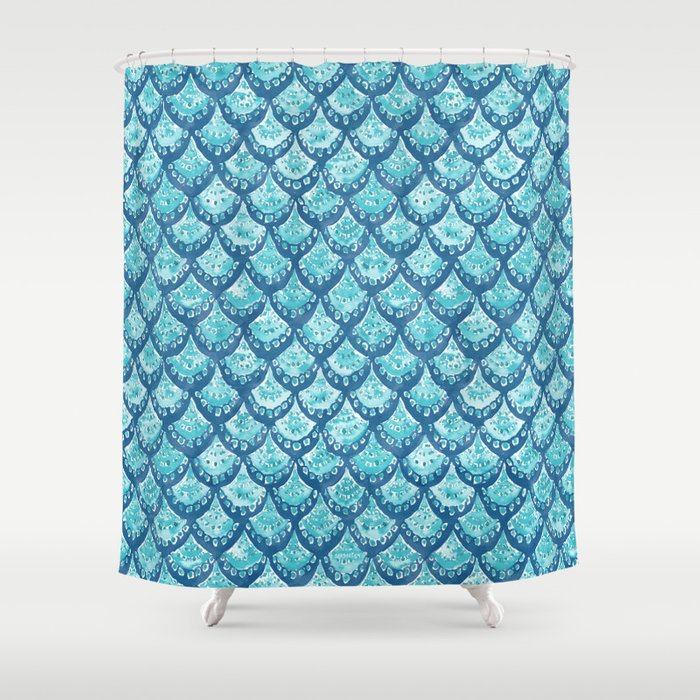 MERMAID SPARKLE Fish Scales Scallop Watercolor Shower Curtain