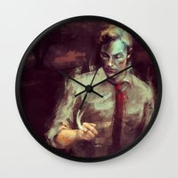 true detective Wall Clocks featuring True Detective by nlmda