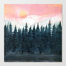 Forest Under the Sunset Canvas Print