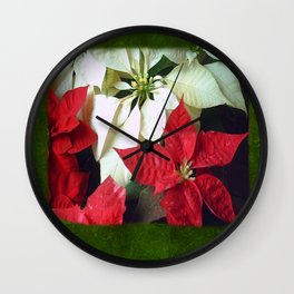 Mixed Color Poinsettias 2 Blank P1F0 Wall Clock