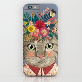 Grey cat with flower crown iPhone Case