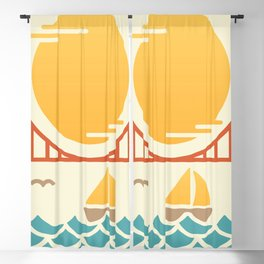 San Francisco Golden Gate Bridge Illustration Blackout Curtain