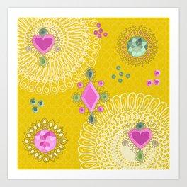 Brooches - yellow Art Print