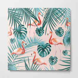Tropical Flamingo Pattern #3 #tropical #decor #art #society6 Metal Print