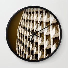Hotel Balconies-Sepia Wall Clock