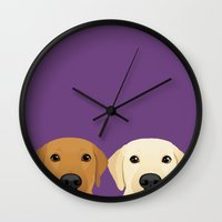 lab Wall Clocks featuring Tan Lab & Yellow Lab by Anne Was Here