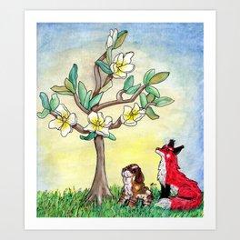 Fox and Bassett Hound Under Magnolia Tree Art Print