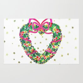 Xmas Heart Wreath Rug