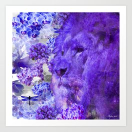 LION AND ORCHIDS  PURPLE AND BLUE FANTASY DREAM Art Print