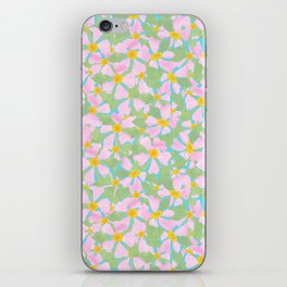 Pink Dogrose Flowers on Sky Blue iPhone Skin