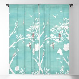 Chinoiserie Panels 1-2 White Scene on Teal Raw Silk - Casart Scenoiserie Collection Blackout Curtain