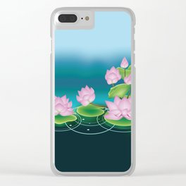 Lotus Flower with Leaves Clear iPhone Case