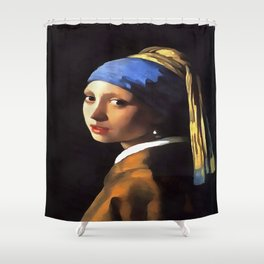 Girl with a Pearl Earring After Johannes Vermeer Shower Curtain