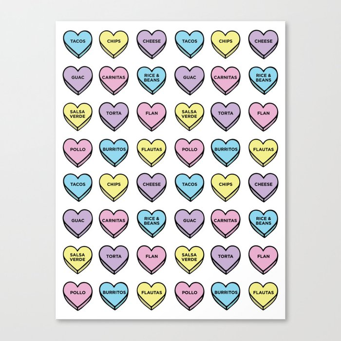 Baesic Candy Hearts - Mexican Food Canvas Print