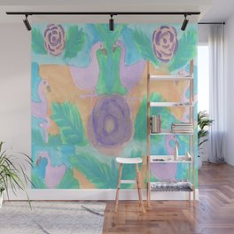 Tropical Flamingo Pastel Print Wall Mural