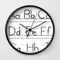 letters Wall Clocks featuring Letters by Bryan Brickley