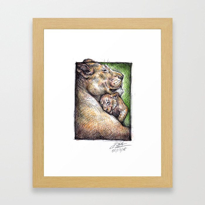 Lioness and Cub Framed Art Print