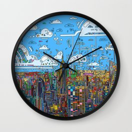 new york city skyline colorful Wall Clock