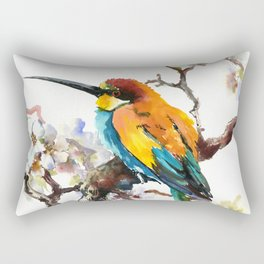 Bee Eater and Apricot Blossom Rectangular Pillow