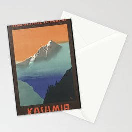 Kashmir India Vintage Travel Poster Colorful Mid Century Art Stationery Cards