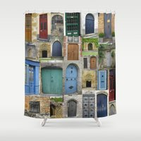 doors Shower Curtains featuring doors by Cathy Jacobs