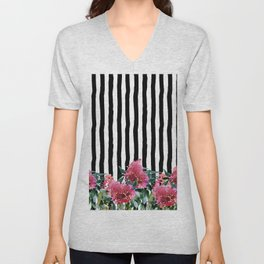 Black white brushstrokes pink watercolor floral stripes Unisex V-Neck