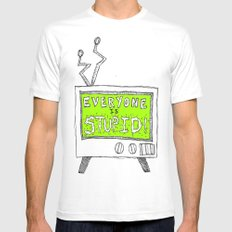 Stupid TV MEDIUM Mens Fitted Tee White