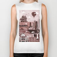 melbourne Biker Tanks featuring Melbourne Travel Poster Illustration by ClaireIllustrations