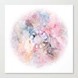 Whimsical white watercolor mandala design Canvas Print