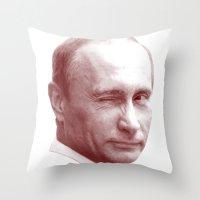 putin Throw Pillows featuring Putin by MartiniWithATwist